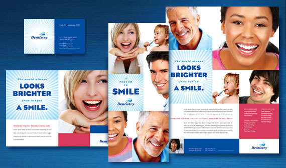 Family Dentistry Brochure, Postcard, Flyer & Ads, and Stationery Designs