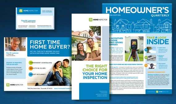 Home Inspection Brochure, Postcard, Newsletter, Flyer & Ads, and Stationery Designs