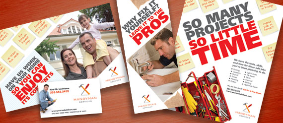 Home Maintenance Services Brochure, Postcard, Stationery, and Flyer & Ads Designs