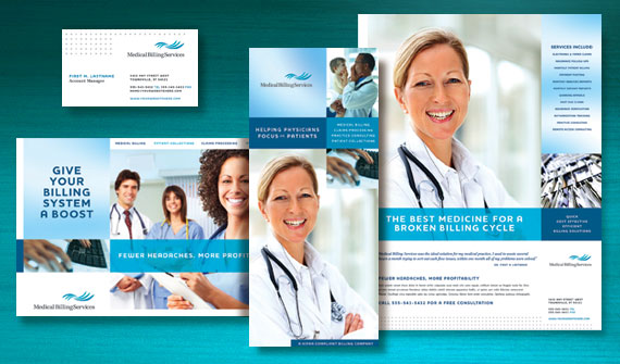 Medical Billing & Coding Brochure, Postcard, Flyer & Ads, and Stationery Designs