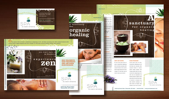 Natural Day Spa & Massage Brochure, Postcard, Flyer & Ads, and Stationery Designs
