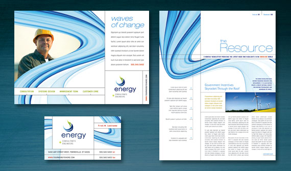 Renewable Energy Consulting Brochure, Newsletter, Stationery, Flyer & Ads, and Datasheet Designs
