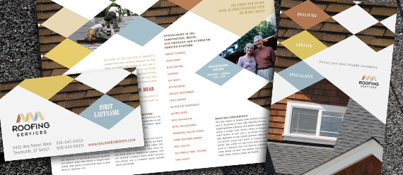 Roofing Contractor Brochure, Postcard, Flyer & Ads and Stationery Designs