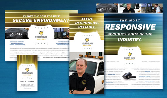 Security Guard Brochure, Flyer & Ads, and Stationery Designs
