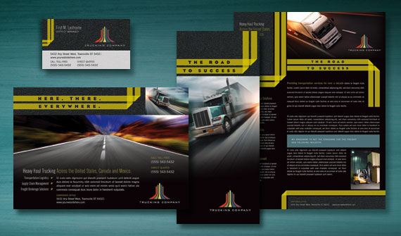 Trucking & Transport Brochure, Stationery, Flyer & Ads, and Datasheet Designs