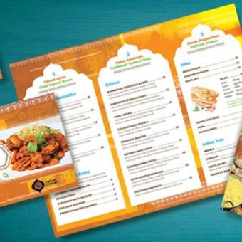 indian restaurant menu flyer ads and postcard ideas - Restaurant Menu Design Ideas