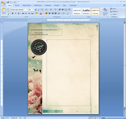 how to repeat a logo and address on each page of your letterhead in