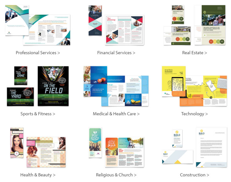 Samples of StockLayouts Print Designs