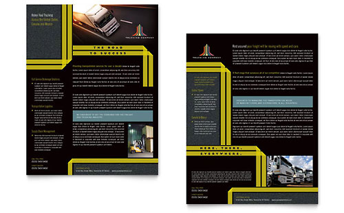 Trucking & Transport Tri Fold Brochure Template Design