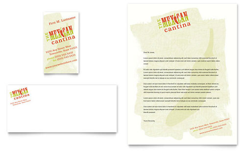 Mexican Restaurant Business Card & Letterhead Template Design