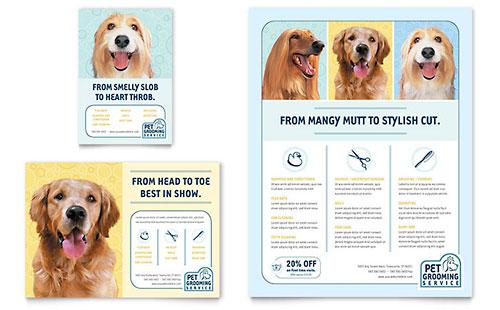 Pet Grooming Service Datasheet Template Design