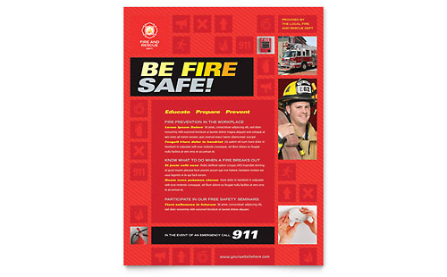 Fire Safety Brochure Template Design