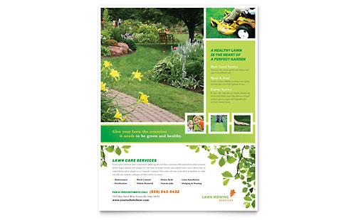 Lawn Mowing Service Business Card & Letterhead Template Design