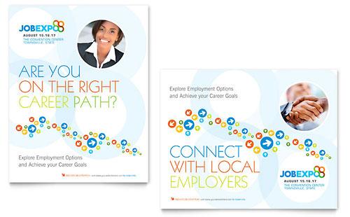 Job Expo & Career Fair Flyer & Ad Template Design