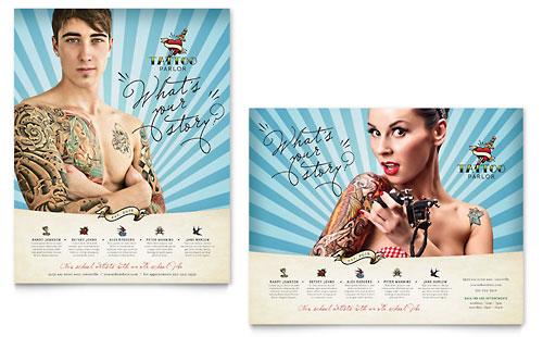Body Art & Tattoo Artist Brochure Template Design