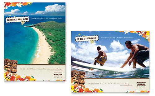 Hawaii Travel Vacation Postcard Template Design