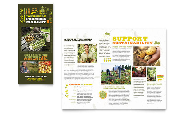 Farmers Market Tri Fold Brochure Template Design