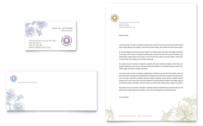 Urban Landscaping Business Card & Letterhead Example