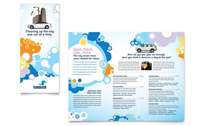Car Wash Tri Fold Brochure Template Design