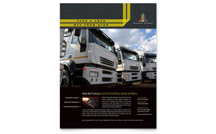 Trucking & Transport Flyer Template Design