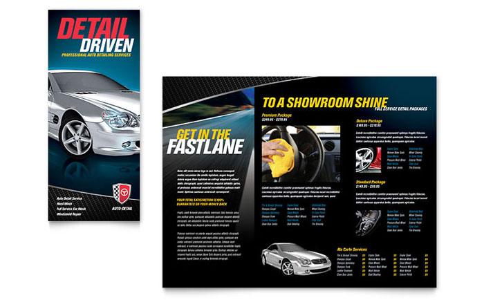 Auto Detailing Tri Fold Brochure Template Design