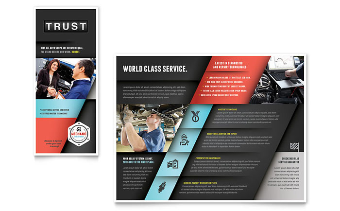 Auto Mechanic Brochure Template Design