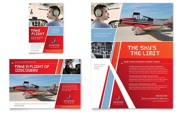 Aviation Flight Instructor Flyer & Ad Template Design