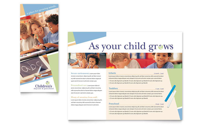 Child Care & Preschool Brochure Template Design