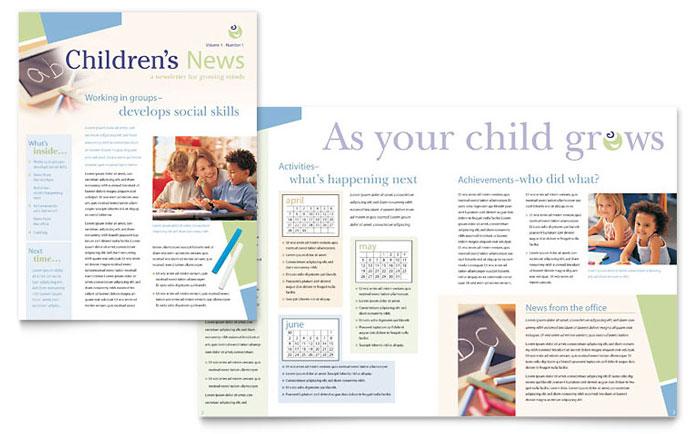 Child Care & Preschool Newsletter Template Design