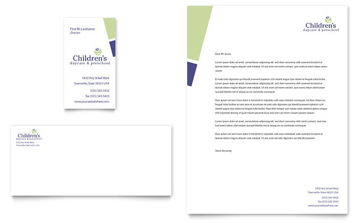 Child Care & Preschool Business Card & Letterhead Template