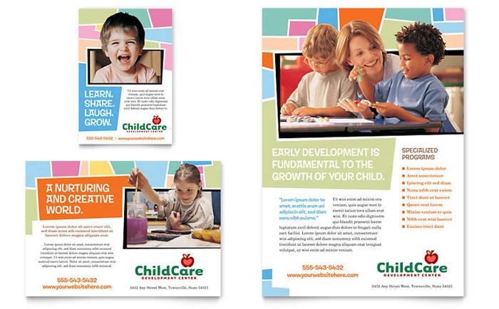 Preschool Kids  Day Care Flyer  Ad Template Design