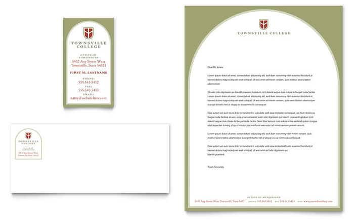 College & University Business Card & Letterhead Template