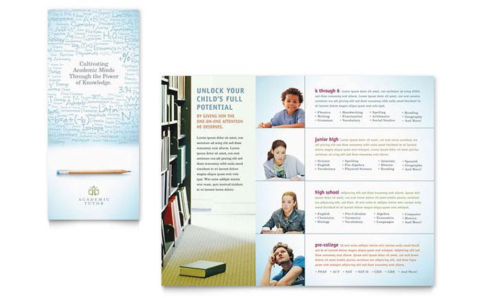 Academic Tutor Amp School Tri Fold Brochure Template Design