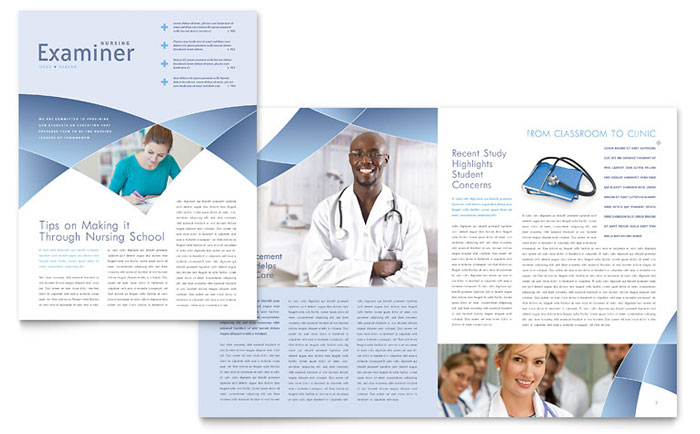 Nursing School Hospital Newsletter Template Design
