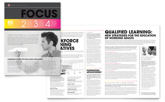Adult Education Newsletter Design Example