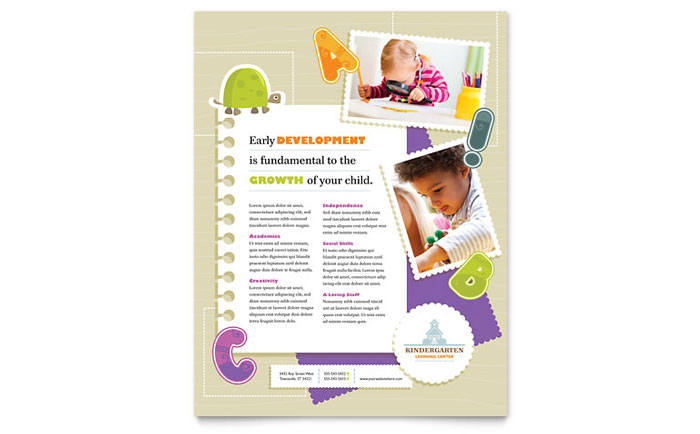 Kindergarten Flyer Template Design