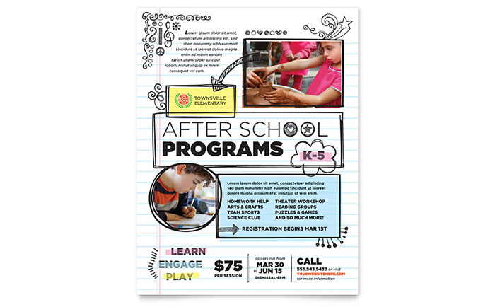 Elementary School Flyer Template Design