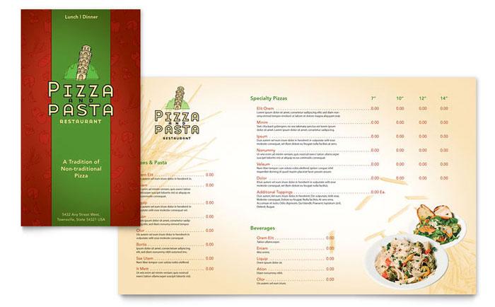 Italian Pasta Restaurant Takeout Brochure Template Design