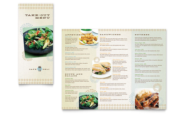Cafe Deli Take Out Brochure Template Design