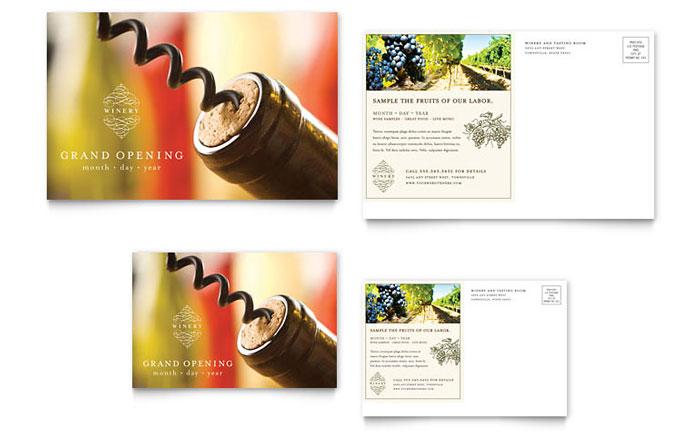 Vineyard Amp Winery Postcard Template Design