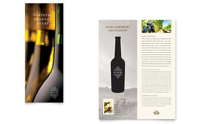 Vineyard & Winery Datasheet Template Design