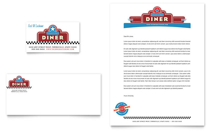 American Diner Restaurant Business Card & Letterhead