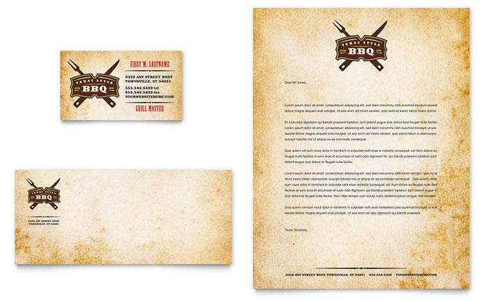 Steakhouse BBQ Restaurant Business Card & Letterhead