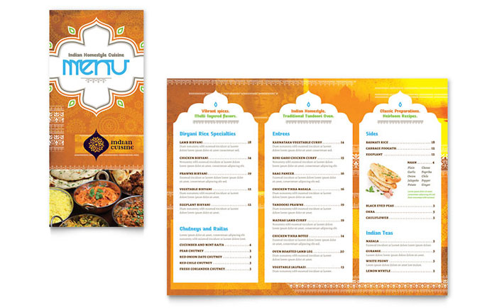 Indian Restaurant Take Out Brochure Template Design