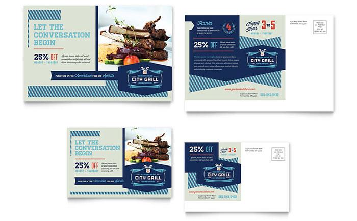 Fine Dining Restaurant Postcard Template Design