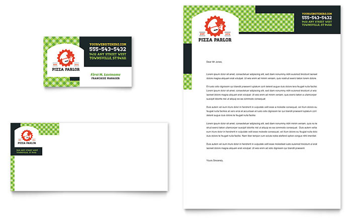 Italian Pizza Parlor - Business Card & Letterhead Design Idea