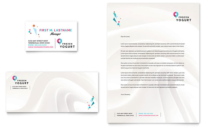 Frozen Yogurt Shop Business Card & Letterhead Template Design