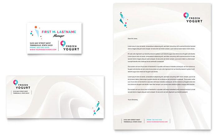 Frozen Yogurt Shop Business Card & Letterhead Template Design