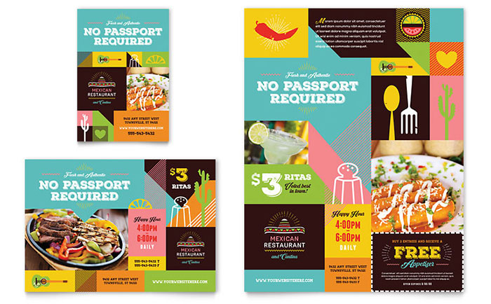 Mexican Food & Cantina Flyer & Ad Template Design