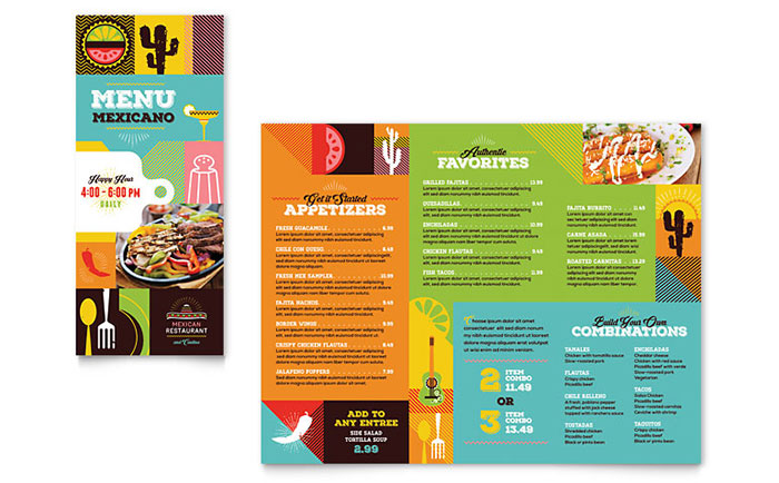 Mexican Food & Cantina Take Out Brochure Template Design